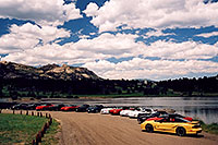 /images/133/2004-07-estes-transams2.jpg - #01664: yellow, red, black and white Pontiac TransAm cars at Estes Lake … July 2004 -- Estes Park, Colorado