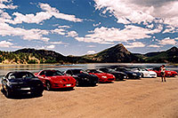 /images/133/2004-07-estes-transams4.jpg - #01666: Ola photographing black, red and white Pontiac TransAm cars at Estes Lake … July 2004 -- Estes Park, Colorado