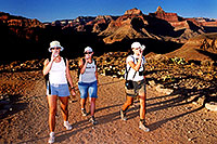/images/133/2004-07-grand-plateau-3-leaving.jpg - #01692: Ewka, Aneta & Ola returning from Plateau Point (the 4hour  night adventure is about to begin) … July 2004 -- Bright Angel Plateau Point, Grand Canyon, Arizona