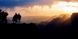/images/133/2004-07-grand-sunset2-pano.jpg - #01730: Silhouettes of Aneta, Ewka & Ola (left to right) during sunset in Grand Canyon … July 2004 -- Navajo Point, Grand Canyon, Arizona