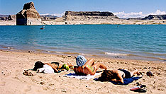 /images/133/2004-07-powell-suntanning.jpg - #01798: Ola, Ewka & Aneta … July 2004 -- Lone Rock, Lake Powell, Utah