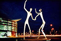 /images/133/2004-08-denver-figures3.jpg - #01862: Denver Figures at night (by Performing Arts Center) … August 2004 -- Denver Figures, Denver, Colorado