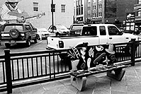 /images/133/2004-08-denver-guitar-bench.jpg - #01870: bench in downtown Denver … August 2004 -- Denver, Colorado
