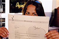 /images/133/2004-08-denver-menu-ola2.jpg - #01877: Ola with menu at Café Colore in Denver … July 2004 -- Denver, Colorado