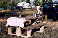 /images/133/2004-08-wyo-cody-camping2.jpg - #02037: time for the morning tea … August 2004 -- Cody, Wyoming