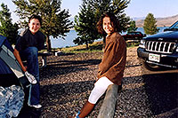 /images/133/2004-08-wyo-cody-girls1.jpg - #02038: Ewka & Ola getting up … they didn`t want to try camping without the tent … August 2004 -- Cody, Wyoming