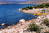 /images/133/2004-08-wyo-cody-lake2.jpg - #02006: kayaking fisherman getting ready … August 2004 -- Buffalo Bill Reservoir, Cody, Wyoming