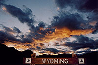 /images/133/2004-08-wyo-night-sign.jpg - #02029: sunset over Wind River Canyon … August 2004 -- Wind River Canyon, Wyoming