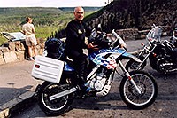/images/133/2004-08-yello-dakar.jpg - #02070: Dakar motorcycle in Yellowstone Park … August 2004 -- Yellowstone, Wyoming
