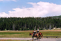 /images/133/2004-08-yello-horse-rangers.jpg - #02099: Yellowstone rangers on horseback … August 2004 -- Old Faithful Geyser, Yellowstone, Wyoming