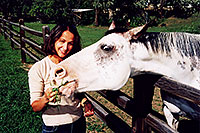 /images/133/2004-09-greenwood-ola-horse.jpg - #02121: Ola feeding a white horse … August 2004 -- Greenwood Village, Colorado