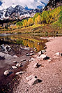 /images/133/2004-09-maroon-bells-vert2.jpg - #02198: Maroon Bells reflecting in Maroon Lake … Sept 2004 -- Maroon Peak, Maroon Bells, Colorado