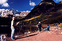 /images/133/2004-09-maroon-photog3.jpg - #02231: too late for sunrise photos, too early for everything lit by sun … Sept 2004 -- Maroon Lake, Maroon Bells, Colorado