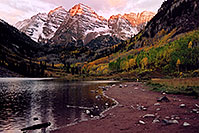 /images/133/2004-09-maroon-view2.jpg - #02238: 7am sun touches the peaks of Maroon Bells … Sept 2004 -- Maroon Peak, Maroon Bells, Colorado