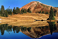 /images/133/2004-10-cinnamon-reflection.jpg - #02260: Cinnamon Mountain (12,293ft) reflection … Oct 2004 -- Paradise Divide, Crested Butte, Colorado