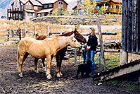 /images/133/2004-10-crested-horses-girl.jpg - #02292: Fantasy Ranch … Oct 2004 -- Mount Crested Butte, Crested Butte, Colorado