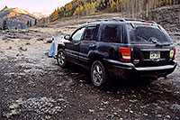 /images/133/2004-10-crested-morn-jeep.jpg - #02317: morning frost on my jeep and tent, near Crested Butte … Oct 2004 -- Crested Butte, Colorado