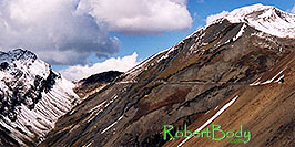 /images/133/2004-10-crested-yule-ridg2-pano.jpg - #02374: skier and snowboarder on trail from Paradise Divide to Yule Pass … October 2004 -- Paradise Divide, Crested Butte, Colorado