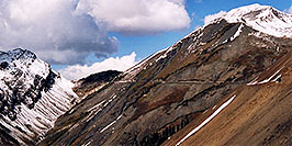 /images/133/2004-10-crested-yule-ridg2-w.jpg - #02334: skier and snowboarder on trail from Paradise Divide to Yule Pass … October 2004 -- Paradise Divide, Crested Butte, Colorado