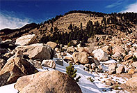 /images/133/2005-03-rockmtn-falls-rocks.jpg - #02561: Rocky Mtn National park, near Estes Park … March 2005 -- Alluvial Fan, Rocky Mountain National Park, Colorado