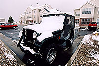 /images/133/2005-03-rosemont-wrangler.jpg - #02576: green Jeep Wrangler with late season snow (even April brings snowstorms in Denver suburbs) … March 2005 -- Remington, Lone Tree, Colorado