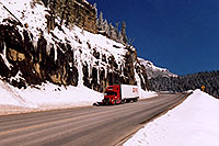 /images/133/2005-03-wolfcreek-road2.jpg - #02602: red Semi Truck going down Wolf Creek Pass towards Durango … March 2005 -- Wolf Creek Pass, Colorado