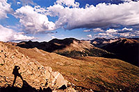 /images/133/2005-09-indep-me-shadow.jpg - #02647: me at 13,000ft, above Independence Pass … view towards Twin Lakes, La Plata Peak rises tallest at 14,336 … Sept 2005 -- Independence Pass, Colorado