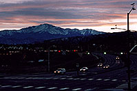 /images/133/2006-02-cos-pikes-sunset.jpg - #02691: sunset above Pikes Peak … cars approaching I-25 from west on Woodmen Road … Feb 2006 -- Colorado Springs, Colorado