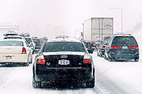 /images/133/2006-03-i70-cars-audi.jpg - #02852: black Audi A4 and cars, during blizzard on Highway I-70 west of Golden … March 2006 -- I-70, Golden, Colorado