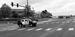 /images/133/2006-10-08-lone-hummer-bw-w.jpg - #02979: Police Hummer on Yosemite Road … Oct 2006 -- Yosemite Rd, Lone Tree, Colorado