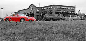 /images/133/2006-10-08-lone-porsche-bw.jpg - #03021: red Porsche at Starbucks Coffee in Lone Tree … Oct 2006 -- Yosemite Rd, Lone Tree, Colorado