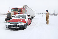/images/133/2006-12-21-lone-linc-stop.jpg - #03295: red Toyota and semi truck waiting for I-25 to open during a December snowstorm … Dec 2006 -- Lincoln Rd, Lone Tree, Colorado