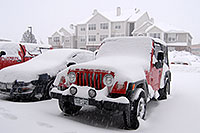 /images/133/2006-12-21-rem-snow04.jpg - #03304: red Jeep Wrangler at Remington during December snowstorm … Dec 2006 -- Remington, Lone Tree, Colorado