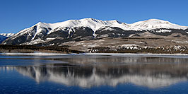 /images/133/2007-01-28-elbert-view2-pano.jpg - #03464: reflection of Mt Elbert in Mt Elbert Forebay … Jan 2007 -- Mt Elbert Forebay, Twin Lakes, Colorado
