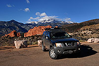 /images/133/2007-02-26-gods-xterra.jpg - #03585: Xterra with Garden of the Gods and Pikes Peak in the background … Feb 2007 -- Garden of the Gods, Colorado Springs, Colorado