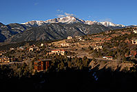 /images/133/2007-02-26-ramp-houses03.jpg - #03589: view of Pikes Peak from Rampart Range Road  … Feb 2007 -- Rampart Range Rd, Colorado Springs, Colorado