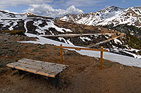 /images/133/2007-05-28-indep-bench.jpg - #03859: bench at top of Independence Pass … view of Mount Champion at 13,646 ft in the background … May 2007 -- Mount Champion, Independence Pass, Colorado