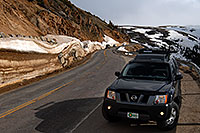 /images/133/2007-06-03-indep-aspen01.jpg - #03880: Xterra posing near top of Independence Pass … June 2007 -- Independence Pass, Colorado