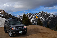 /images/133/2007-06-03-indep-saddle-xterra.jpg - #03890: Xterra posing near top of Independence Pass Road, with Mount Champion at 13,646 ft … June 2007 -- Mount Champion, Independence Pass, Colorado