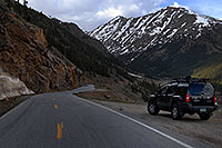 /images/133/2007-06-03-indep-twin-xter1.jpg - #03898: Car driving up the Twin Lakes side of Independence Pass Road, with Mount Champion at 13,646 ft … June 2007 -- Mount Champion, Independence Pass, Colorado