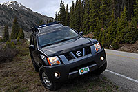 /images/133/2007-06-03-indep-twin-xter2.jpg - #03899: my Xterra near bottom of road heading up to Independence Pass from Twin Lakes side … June 2007 -- Independence Pass, Colorado