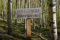 /images/133/2007-06-10-elbert-sign.jpg - #03893: South Trail of Mt Elbert trail to the left, Colorado Trail to the right … June 2007 -- Mt Elbert, Colorado