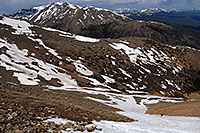 /images/133/2007-06-10-elbert-skier-d02.jpg - #03907: Skier skiing down Mt Elbert … view of Mt Massive at 14,421 ft … June 2007 -- Mt Elbert, Colorado