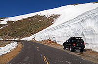 /images/133/2007-06-17-evans-bank-xte02.jpg - #03973: 20ft snowbanks at 11,500ft on a road up Mt Evans … June 2007 -- Mount Evans Road, Mt Evans, Colorado