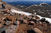 /images/133/2007-06-17-evans-road-top.jpg - #03998: view from 14,133 ft parking lot of Mt Evans  - the snow outlined trail is a road up Mt Evans … June 2007 -- Mount Evans Road, Mt Evans, Colorado