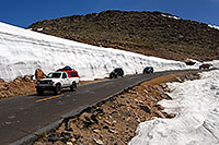 /images/133/2007-06-17-evans-snow-bank.jpg - #04007: 20ft snowbanks at 11,500ft on a road up Mt Evans … June 2007 -- Mount Evans Road, Mt Evans, Colorado