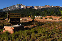/images/133/2007-06-22-pikes-hut02.jpg - #04031: Crystal Reservoir Visitor Center with Pikes Peak in the background … June 2007 -- Crystal Reservoir, Pikes Peak, Colorado