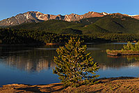 /images/133/2007-06-22-pikes-lake-morn2.jpg - #04038: Morning reflection of Pikes Peak in Crystal Reservoir … June 2007 -- Crystal Reservoir, Pikes Peak, Colorado