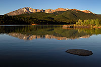 /images/133/2007-06-22-pikes-lake01.jpg - #04033: Morning reflection of Pikes Peak in Crystal Reservoir … June 2007 -- Crystal Reservoir, Pikes Peak, Colorado