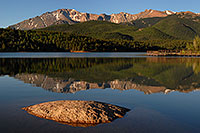 /images/133/2007-06-22-pikes-lake02.jpg - #03985: Morning reflection of Pikes Peak in Crystal Reservoir … June 2007 -- Crystal Reservoir, Pikes Peak, Colorado